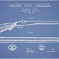 Baker Gun Barrel Patent Drawing From 1877- Light Blue by Aged Pixel