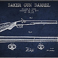 Baker Gun Barrel Patent Drawing From 1877- Navy Blue by Aged Pixel