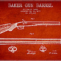 Baker Gun Barrel Patent Drawing From 1877- Red by Aged Pixel