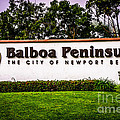 Balboa Peninsula Sign For City Of Newport Beach Picture by Paul Velgos
