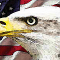 Bald Eagle Art - Old Glory - American Flag by Sharon Cummings