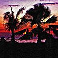Bali Sunset Impasto Paint Version by Steve Harrington