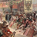 Ball At The Court, Illustration by Albert Robida