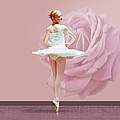 Ballerina In White With Pink Rose  by Delores Knowles