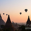 Ballons Over The Temples Of Bagan At Sunrise - Myanmar by Matteo Colombo