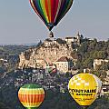 Balloons At Rocamadour Midi Pyrenees France by Colin and Linda McKie