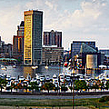Baltimore Harbor Skyline Panorama by Susan Candelario