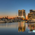 Baltimore Inner Harbor East Skyline At Dawn I by Clarence Holmes