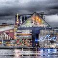 Baltimore Inner Harbor National Aquarium Skyline At Night by Marianna Mills
