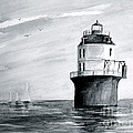 Baltimore Lighthouse In Gray  by Nancy Patterson