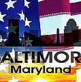 Baltimore Md Patriotic Large Cityscape by Angelina Vick