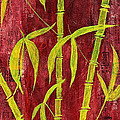 Bamboo On Red by Bellesouth Studio