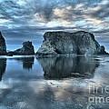 Bandon Beach Sunset Reflections by Adam Jewell