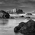 Bandon Sea Stacks Black And White by Mark Kiver