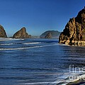 Bandon Sea Stacks In The Surf by Adam Jewell