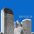 Bangkok Thailand Skyline 2 - Blue by DB Artist