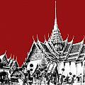 Bangkok Thailand Skyline Grand Palace - Dark Red by DB Artist
