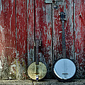 Banjos Against A Barn Door by Bill Cannon
