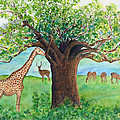 Baobab And Giraffe by Patricia Beebe