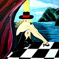 Bar Scene Lady With Hat By The Water by Nora Shepley