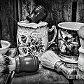 Barber - Shaving Mugs And Brushes In Black And White by Paul Ward