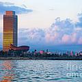 Barcelona Skyline From Sea by Michal Bednarek