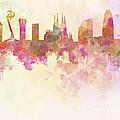 Barcelona Skyline In Watercolour Background  by Pablo Romero