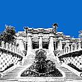 Barcelona Skyline Park Guell - Blue by DB Artist