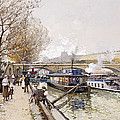 Barges On The Seine by Eugene Galien-Laloue