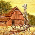 Barn  -  Windmill  -  Old Rake by Kenneth LePoidevin