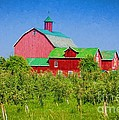 Barn And Apple Orchard by Les Palenik