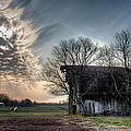 Barn In A Field With A Horse by Larry Braun
