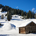 Barn In Kleinwalsertal Austria Covered With Snow In Winter by Matthias Hauser