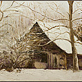 Barn In Snow by Kathy Knopp