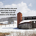 Barn In Winter With Psalm Scripture by Jill Lang