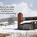 Barn In Winter With Scripture by Jill Lang