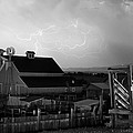 Barn On The Farm And Lightning Thunderstorm Bw by James BO  Insogna