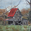 Barn - Red Roof - Autumn by Jan Dappen