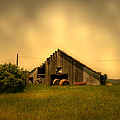 Barn With Hay Bales by Nina Fosdick