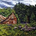 Barn With Purple Flowers by Nancie Johnson