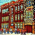 Baron Byng High School St Urbain Street Hockey Montreal Winter Scene Carole Spandau Montreal Artist by Carole Spandau
