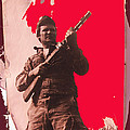 Barry Sadler Machine Gun Authentic Ww2 Africa Korps Hat Camouflage Clothes Collage Tucson 1971-2012 by David Lee Guss