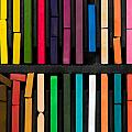 Bars Of Bright And Colorful Pastel On Black Background by Joel Vieira