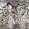 Bas-reliefs Of Khmer Daily Activities In The Bayon In Angkor Thom-cambodia  by Ruth Hager