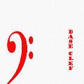 Base Clef - Music Symbol - Red by Barbara Griffin