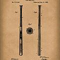 Baseball Bat 1885 Patent Art Brown by Prior Art Design