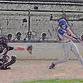 Baseball Batter Contact Digital Art by Thomas Woolworth