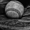 Baseball Broken In Black And White by Paul Ward