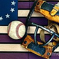 Baseball Catchers Mask Vintage On American Flag by Paul Ward
