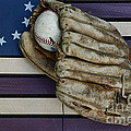 Baseball Mitt On American Flag Folk Art by Paul Ward